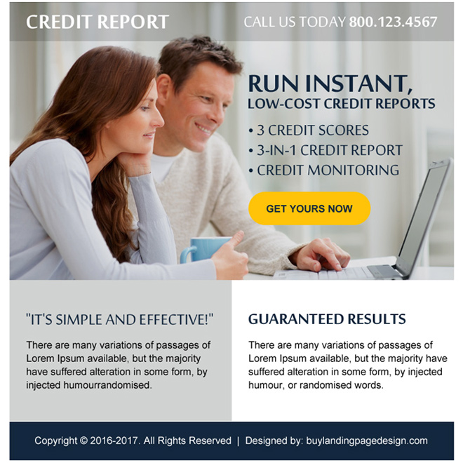 low cost credit report free quote ppv landing page Credit Report example