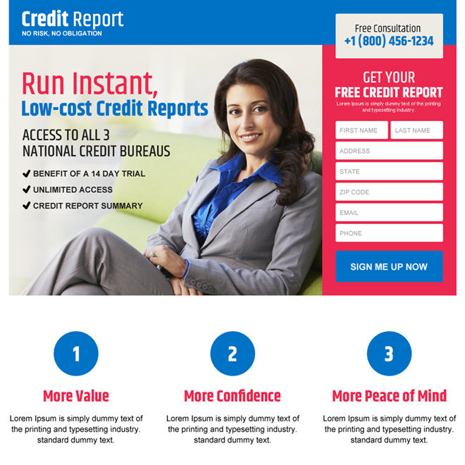 low cost credit report service lead capturing landing page design Credit Report example