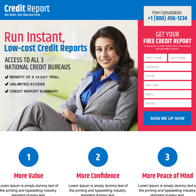low cost credit report services responsive landing page Credit Report example