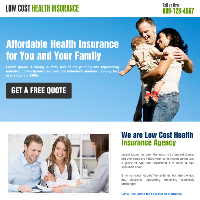 minimal health insurance landing page design Health Insurance example