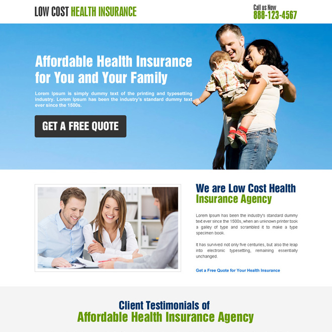 responsive low cost health insurance landing page design Health Insurance example