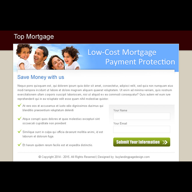 low cost mortgage payment protection call to action clean ppv landing page design Mortgage example