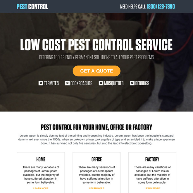 low cost pest control service call to action landing page design template Pest Control example