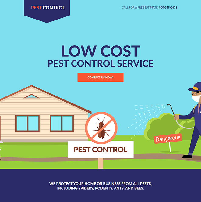 low cost pest control service responsive landing page design Pest Control example