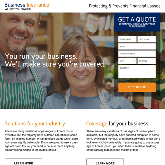 low cost business insurance quote generating landing page Business Insurance example