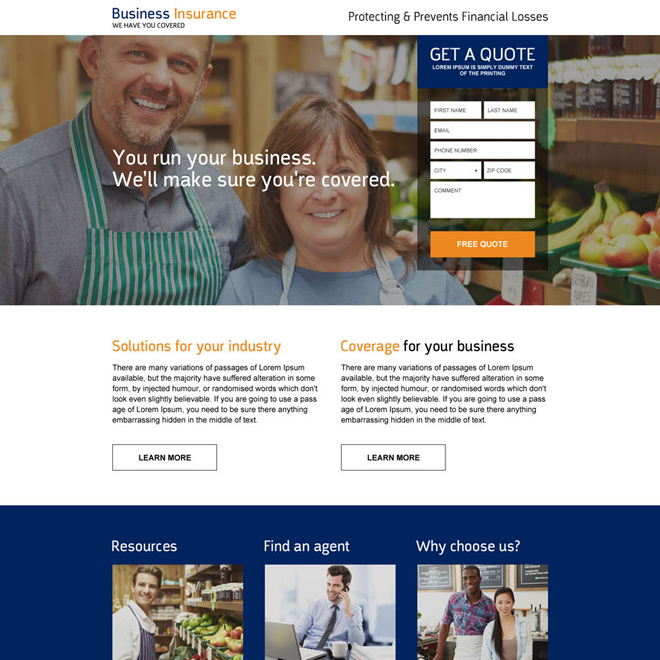 responsive business insurance premium landing page design Business Insurance example