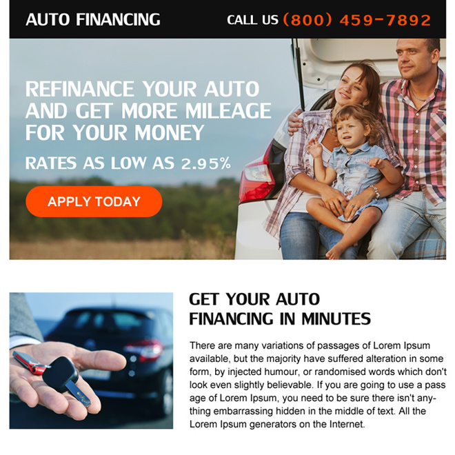 auto refinance online application call to action ppv landing page Auto Finance example