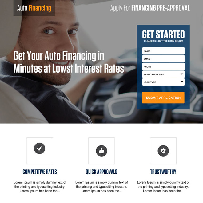 low interest rate auto financing lead capturing landing page design Auto Financing example