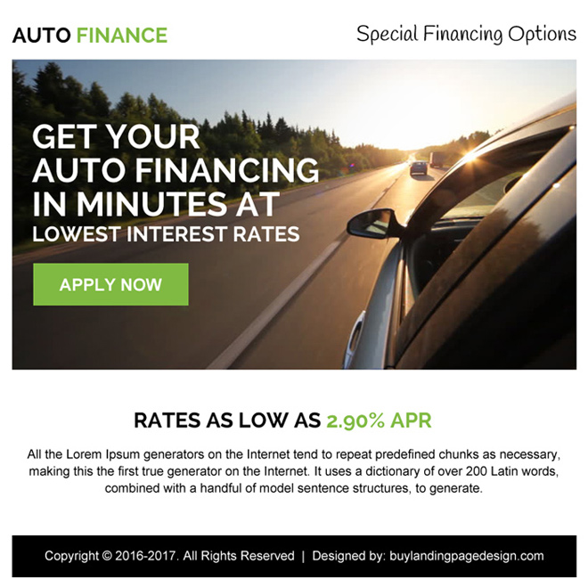 low interest auto finance ppv landing page design Auto Finance example