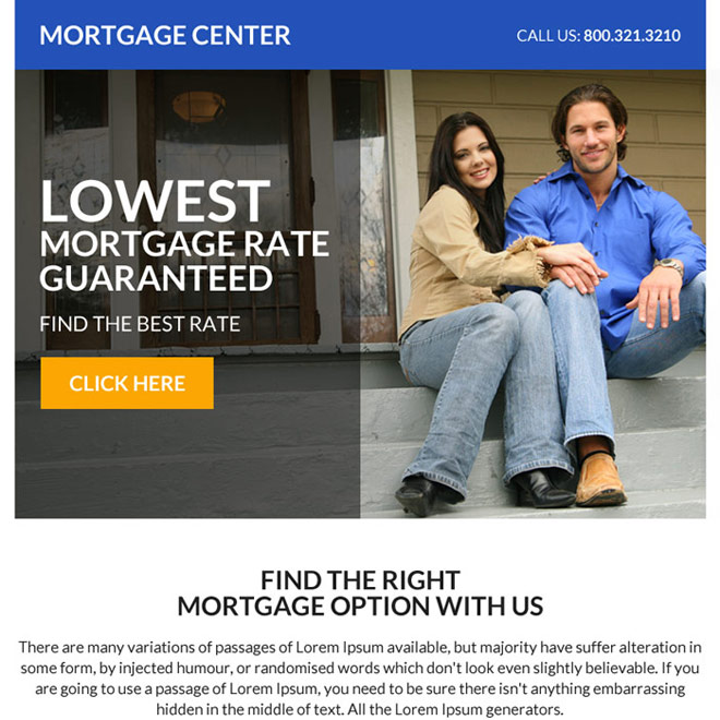 low mortgage rate guaranteed ppv landing page design Mortgage example