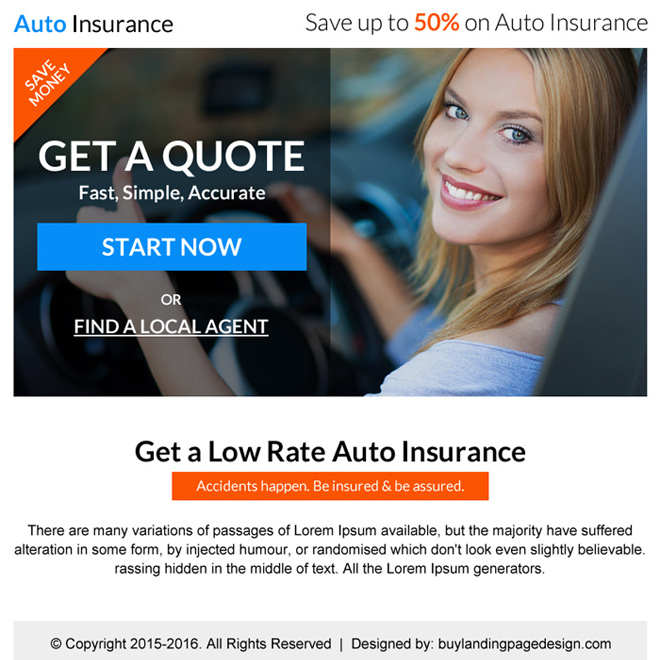 low rate auto insurance free quote call to action PPV landing page design Auto Insurance example