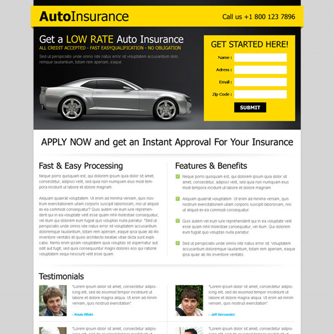 instant approval for your car insurance most converting landing page design template Auto Insurance example
