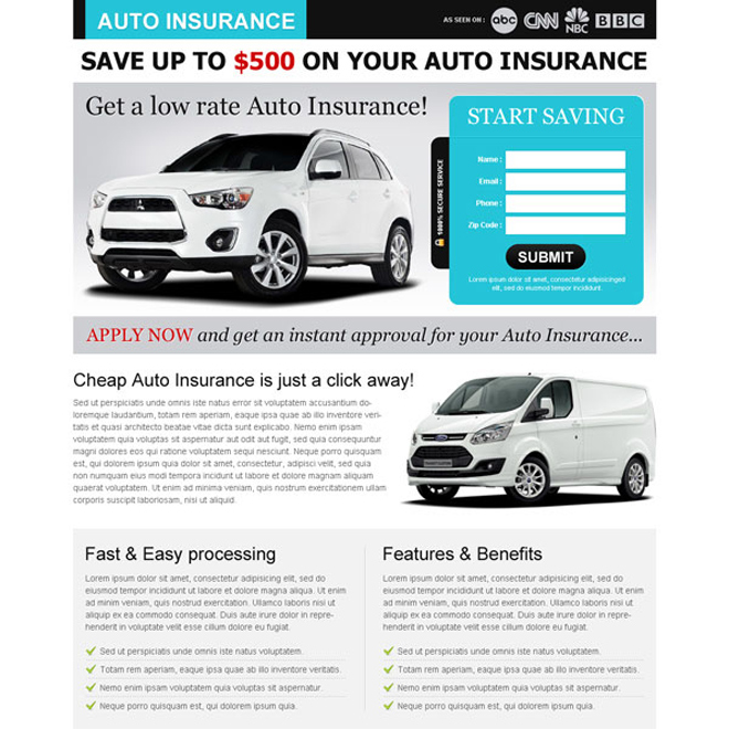 low rate auto insurance clean and minimal squeeze page design Auto Insurance example