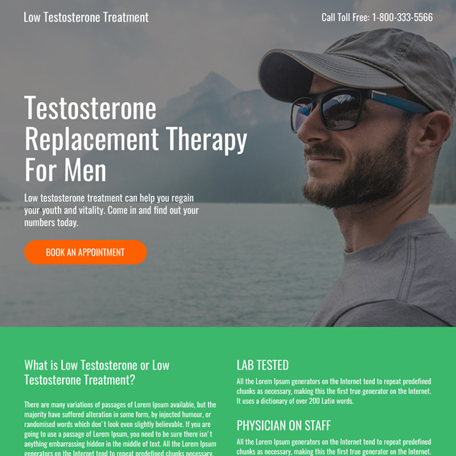 low testosterone mini responsive landing page design Low Testosterone example