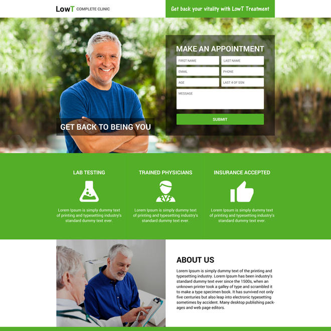 responsive low testosterone online appointment booking landing page Low Testosterone example