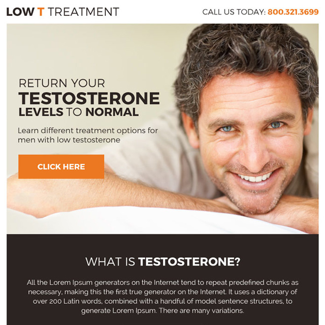 premium low testosterone treatment ppv landing page Low Testosterone example
