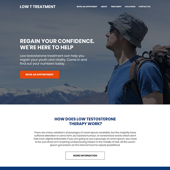 low testosterone treatment lead capturing website design Low Testosterone example