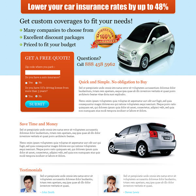 lower your car insurance rates clean and very effective landing page design Auto Insurance example