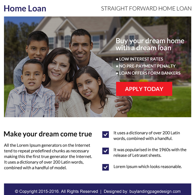 home loan online application ppv landing page design Home Loan example