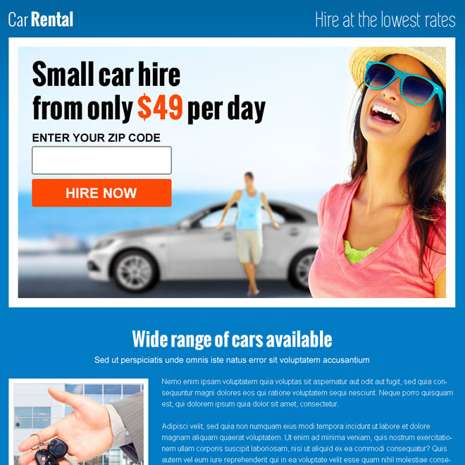 car rental zip capture responsive landing page design Car Hire and Car Rental example