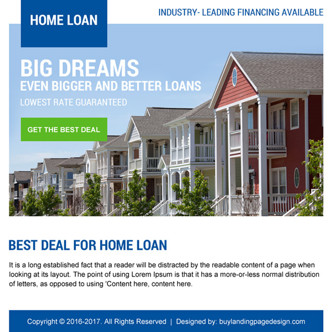 lowest home loan deal ppv landing page design Home Loan example