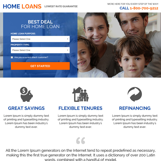 lowest rate home loan guarantee landing page design Home Loan example