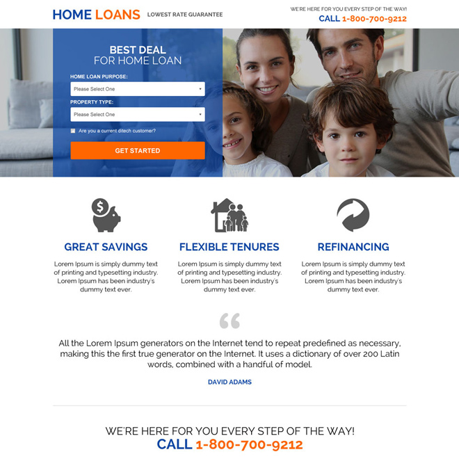 lowest rates home loan responsive mini landing page Home Loan example