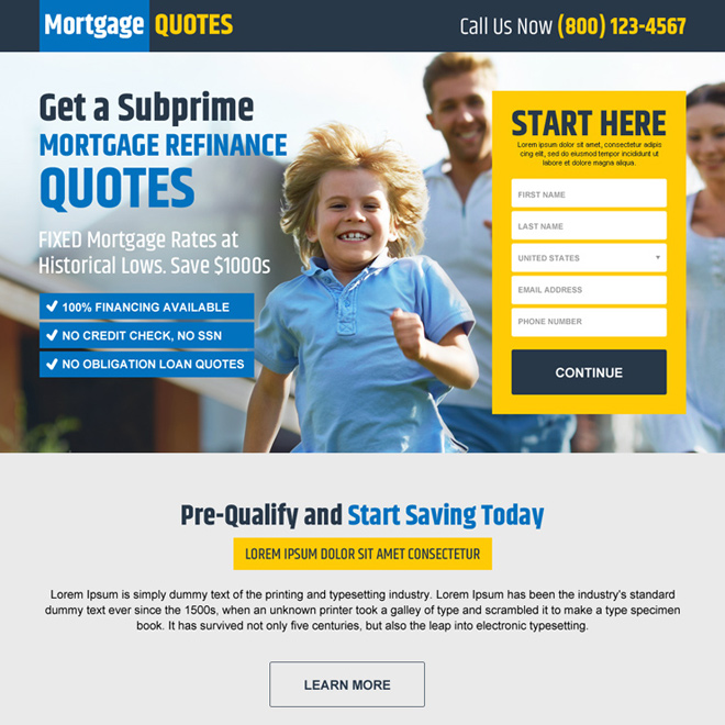 mortgage refinance quote lead capture landing page design Mortgage example