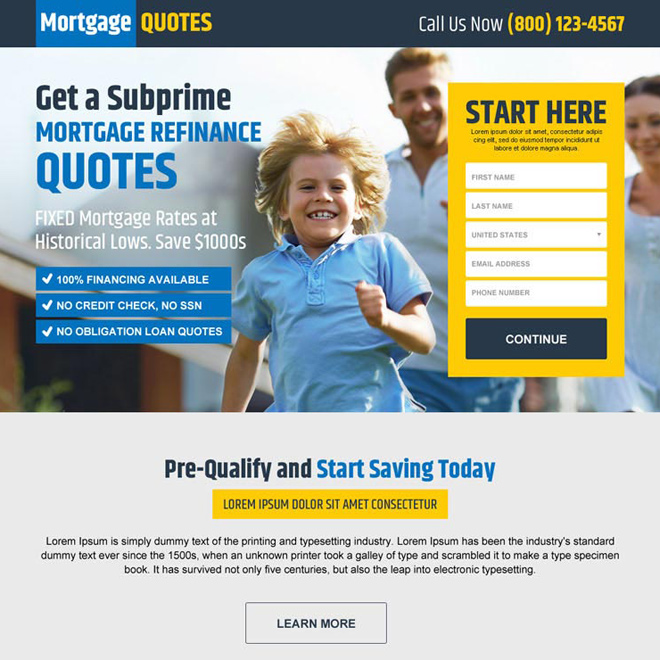 lowest rate mortgage finance quote responsive landing page Mortgage example