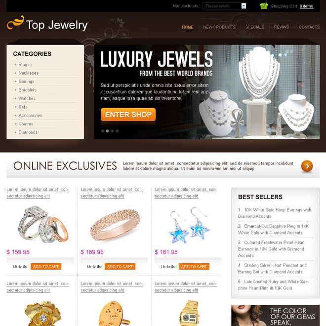 luxury jewels online store website template design psd to create your website Website Template PSD example