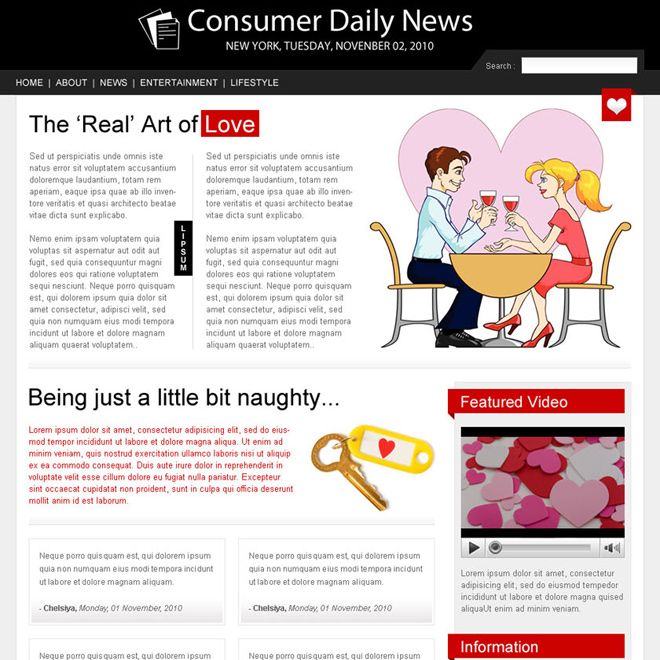 magazine style dating landing page design Flogs example