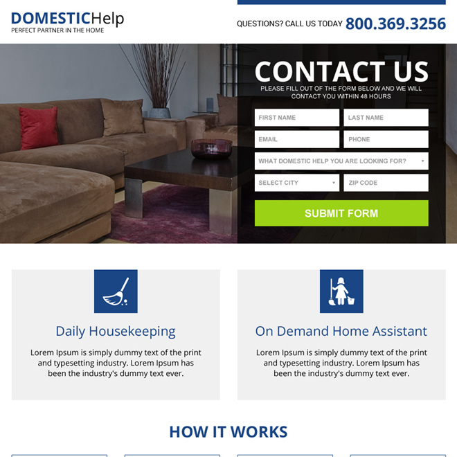 domestic help service mini landing page design Domestic Help example