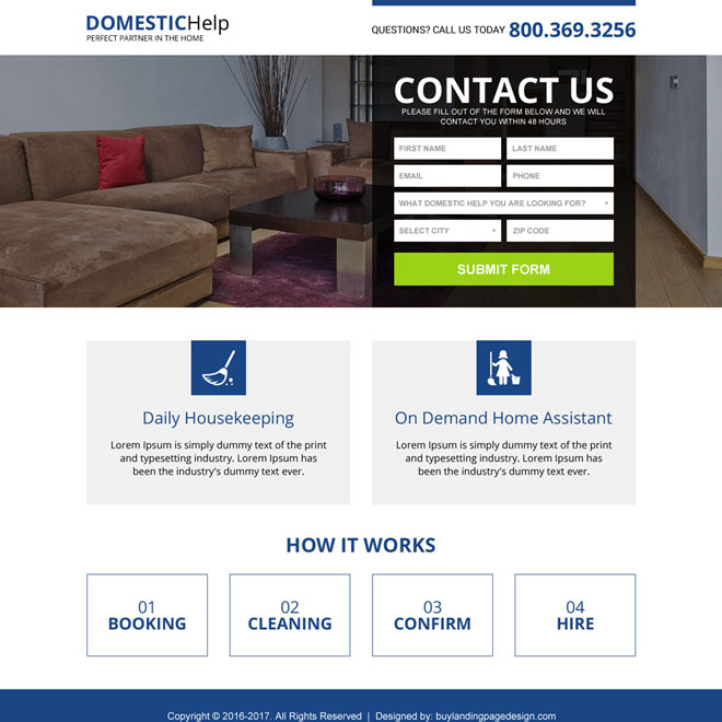 maids and domestic help service responsive landing page Domestic Help example