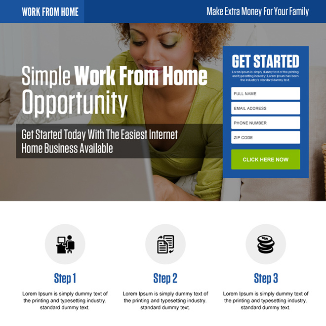 ... Make Extra Money For Your Family Lead Generating Landing Page Design  Work From Home Example