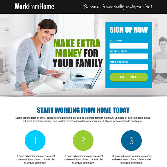 earn extra money from home online lead capture landing page Work from Home example