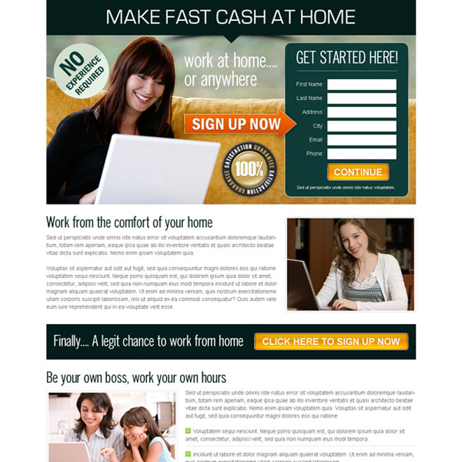 make fast cast from the comfort of your home user friendly and effective lander design Work from Home example