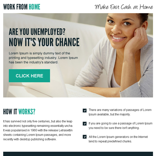 make fast cash at home call to action ppv landing page design Work from Home example
