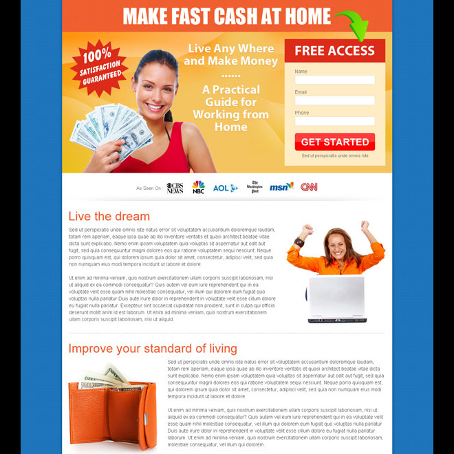 make fast cash at home free access lead capture page design to boost your conversion Work from Home example