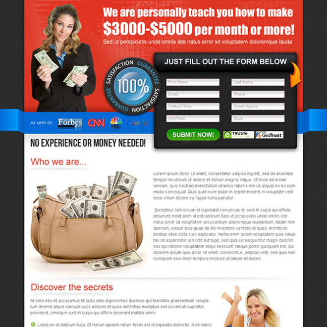 make money online effective lander design Make Money Online example