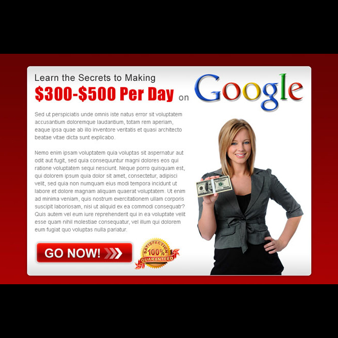secrets of making money with google appealing ppv landing page design template Google Money example