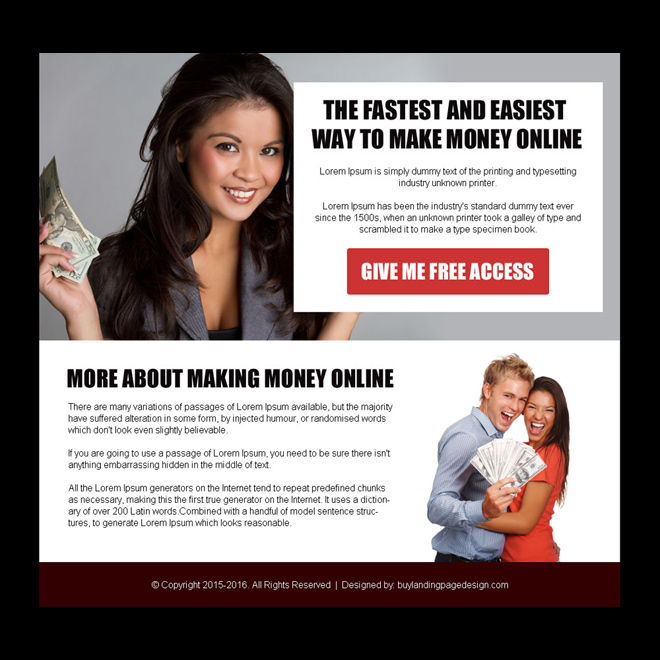 make money online free access ppv landing page design Make Money Online example