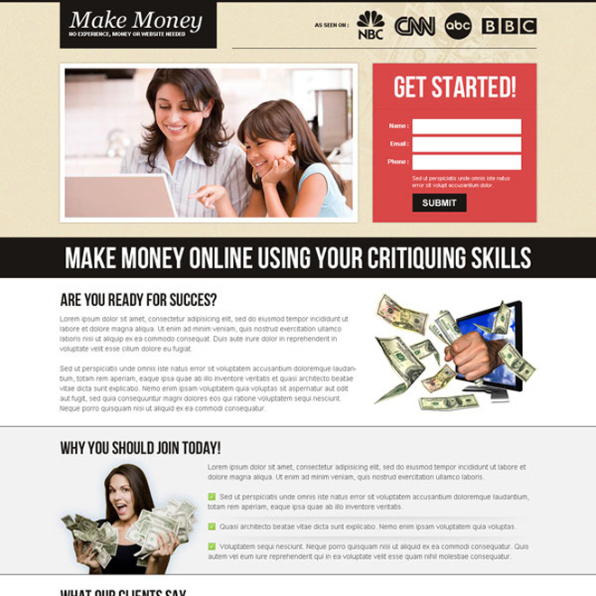 effective and beautiful small lead capture converting landing page design Make Money Online example