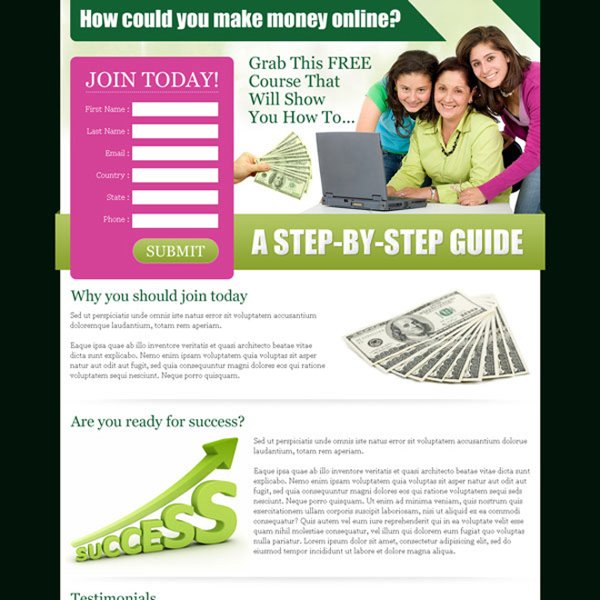 make money online free course lead capture design template Make Money Online example