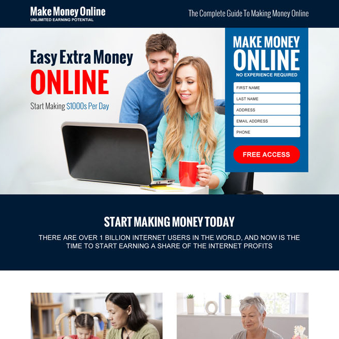 make money online guide lead gen landing page design template Make Money Online example