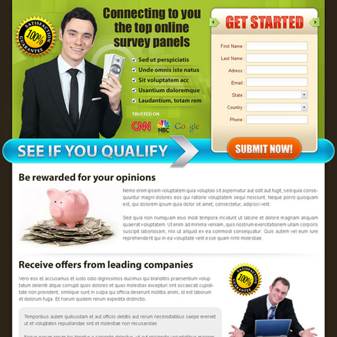 make money online landing page design template Make Money Online example
