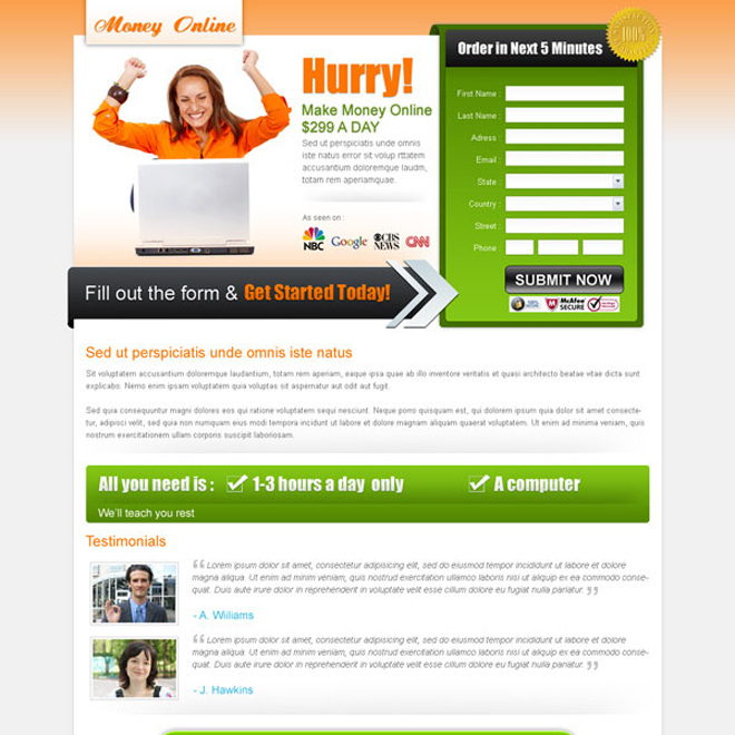 make money online call to action appealing landing page design for sale Landing Page Design example