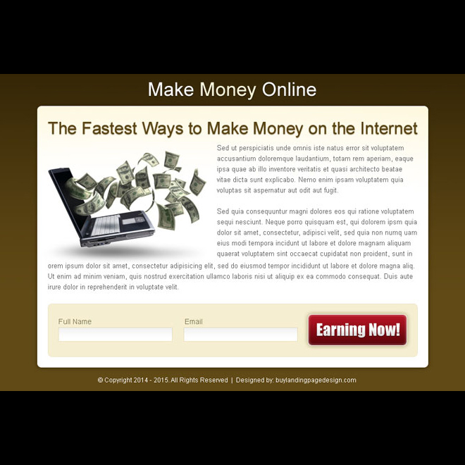 fastest way to make money on the internet effective ppv landing page design Make Money Online example