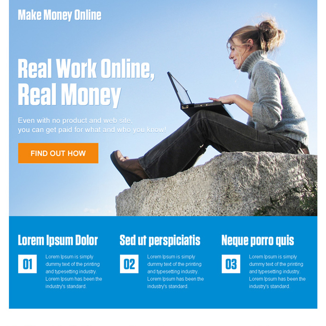 make money online pay per click landing page design template Pay Per Click example