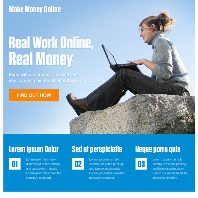 responsive make money online ppc landing page design Make Money Online example