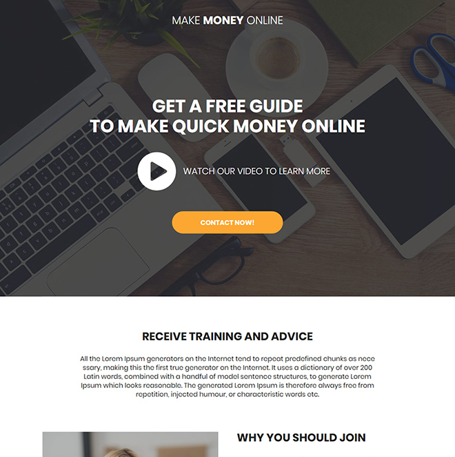 make money online free guide video landing page Make Money Online example